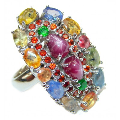 Genuine Ruby Star multicolor Sapphire .925 Sterling Silver handmade LARGE Cocktail Ring s. 8 1/4