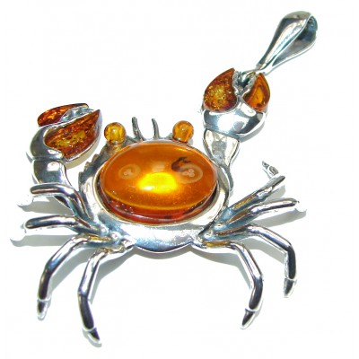 Huge Crab Natural Baltic Amber .925 Sterling Silver handmade Pendant
