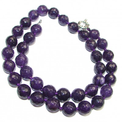 Bella Huge authentic Amethyst .925 Sterling Silver handcrafted necklace