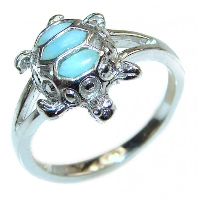 Turtle Natural inlay Larimar .925 Sterling Silver handcrafted Ring s. 7 1/4