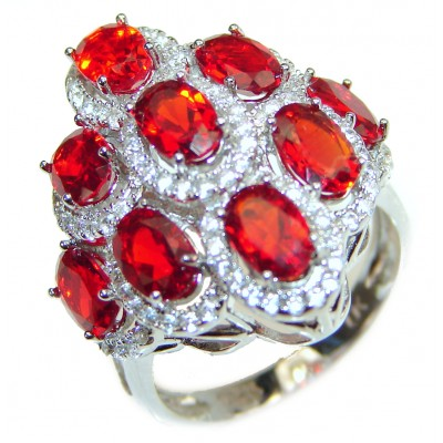 Authentic Red Helenite .925 Sterling Silver ring s. 7 1/4