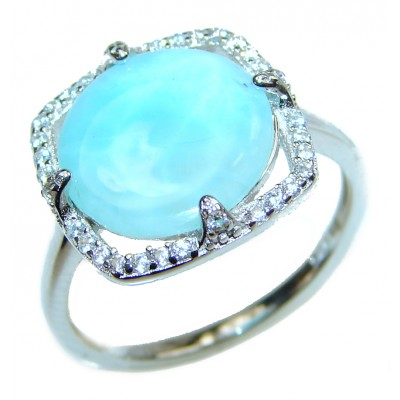 Larimar .925 Sterling Silver handcrafted Ring s. 8