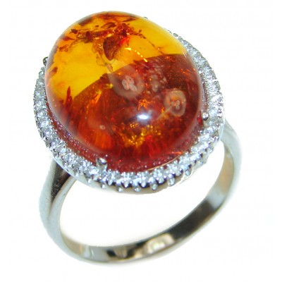 Genuine Baltic Amber .925 Sterling Silver handmade Ring size 7