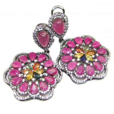 Stunning Authentic Ruby .925 Sterling Silver handmade Spectacular earrings