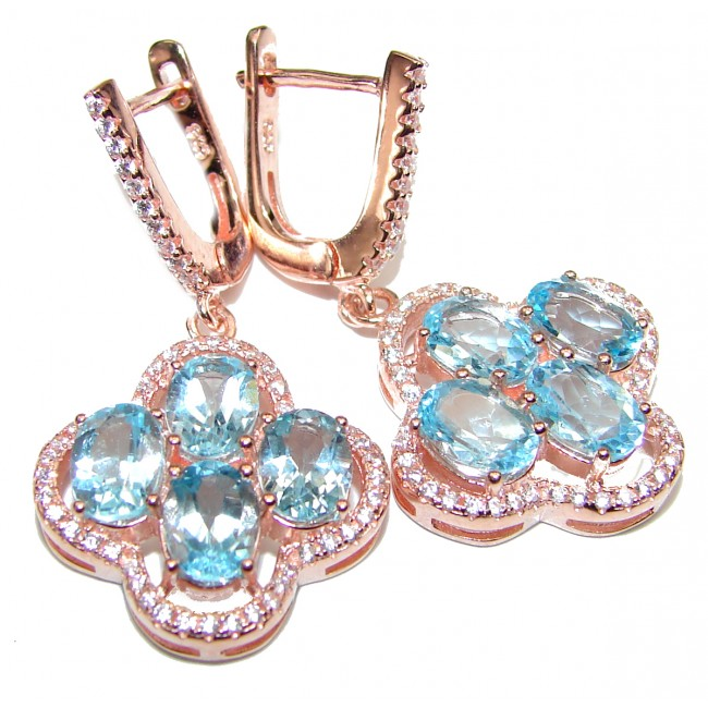 Incredible Swiss Blue Topaz rose gold over .925 Sterling Silver handcrafted earrings