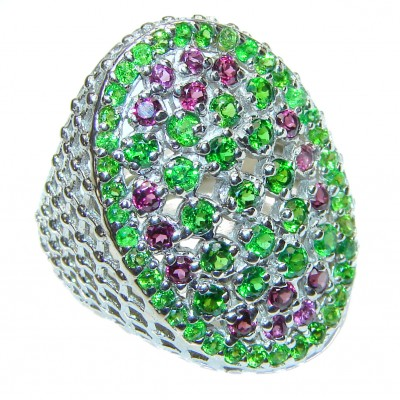 Spectacular Natural Chrome Diopside .925 Sterling Silver handmade Statement ring s. 8
