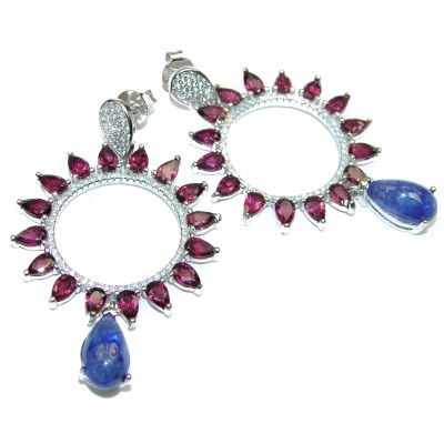 Genuine Tanzanite Garnet .925 Sterling Silver handcrafted Earrings