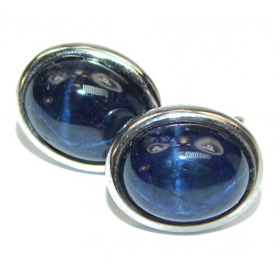 Royal quality unique Blue Star Sapphire .925 Sterling Silver handmade earrings