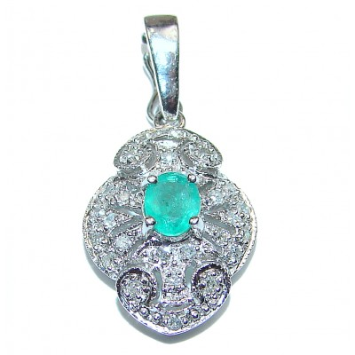 14K white Gold Vintage Style Emerald and Diamond Pendant