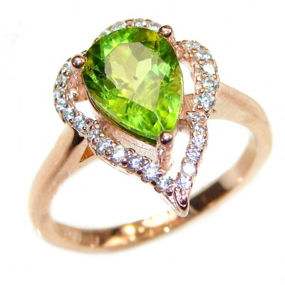 Melissa genuine Peridot 14K Gold over .925 Sterling Silver handcrafted Ring size 7