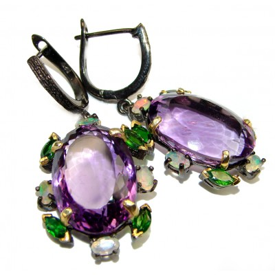 Violet Flame Authentic Amethyst black rhodium over .925 Sterling Silver handmade LARGE earrings