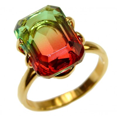 11.1 Watermelon Tourmaline Gold over .925 Sterling Silver handcrafted Ring size 7