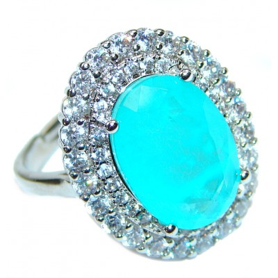 Oval Cut Paraiba Tourmaline .925 Sterling Silver handcrafted Statement Ring size 7