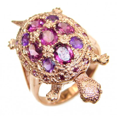 Good health and Long life Turtle 18ctw Genuine Garnet 24K Gold over .925 Sterling Silver handmade Ring size 7 3/4