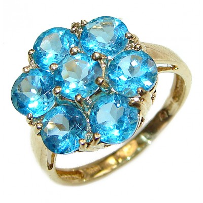 14K yellow Gold Six-Petal Flower Blue Topaz Cocktail Ring size 7