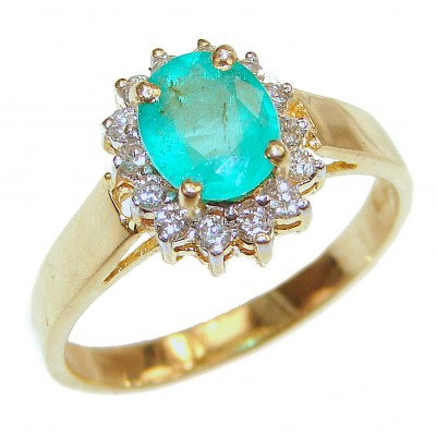 18K yellow Gold oval shape Colombian Emerald Cocktail Ring size 7