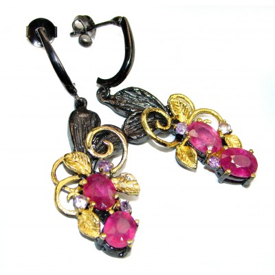 Incredible quality authentic Ruby Gold over .925 Sterling Silver handcrafted earrings