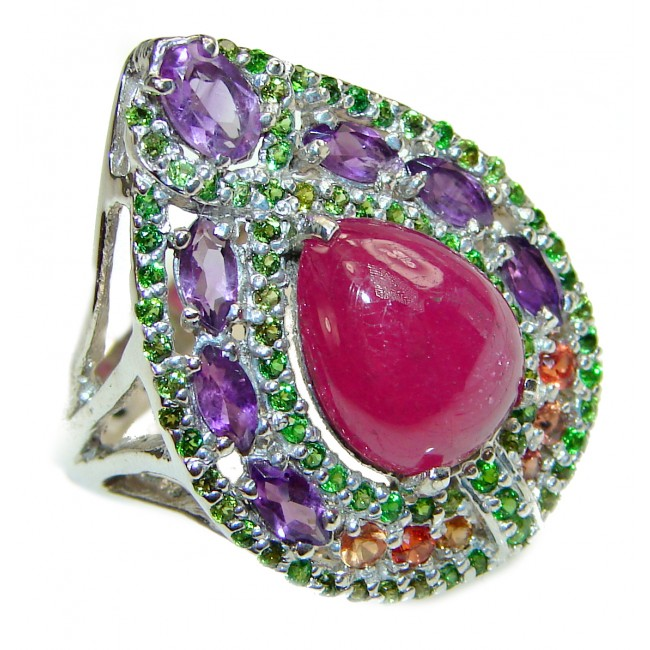 Genuine Ruby .925 Sterling Silver handmade LARGE Cocktail Ring s. 9 3/4