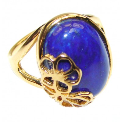 Natural afganian Lapis Lazuli 14K Gold over .925 Sterling Silver handcrafted ring size 7 1/2