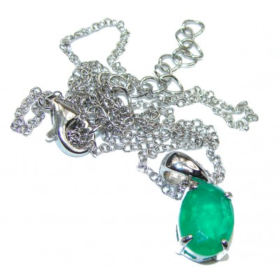 Magnificent Jewel authentic Emerald .925 Sterling Silver handcrafted necklace