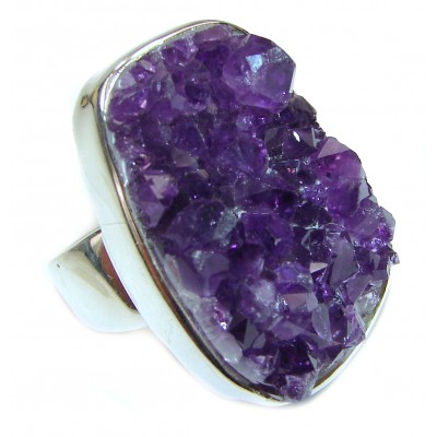 Big authentic Amethyst Cluster Sterling Silver Ring s. 10
