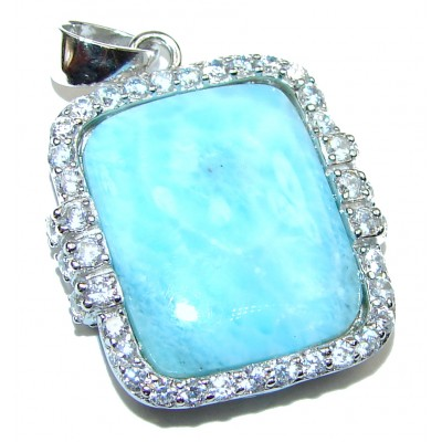 Best quality Larimar from Dominican Republic .925 Sterling Silver handmade pendant