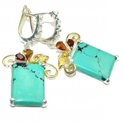 Genuine Turquoise .925 Sterling Silver handcrafted Earrings
