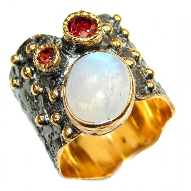 Special Fire Moonstone 14K Gold rhodium over .925 Sterling Silver handmade ring s. 8