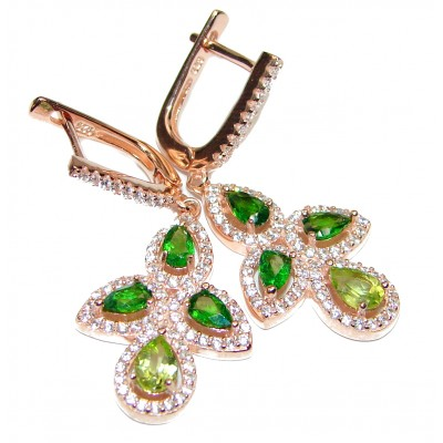 Fabulous Chrome Diopside rose gold over .925 Sterling Silver handcrafted earrings