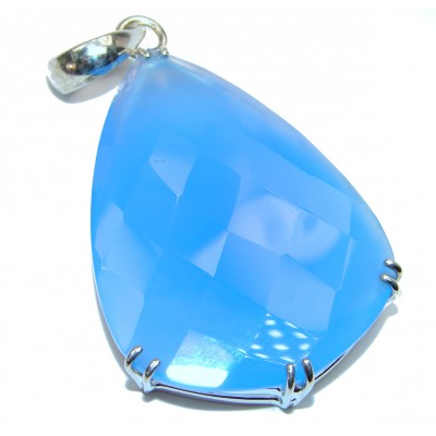 Natural huge best quality Chalcedony Agate .925 Sterling Silver handmade Pendant