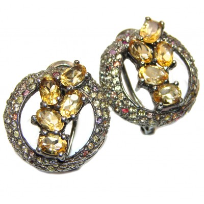 Luxurious Style Natural Citrine .925 Sterling Silver handmade earrings