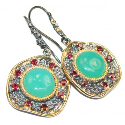 Amazing floral design Chrysoprase 14K gold over .925 Sterling Silver handmade earrings