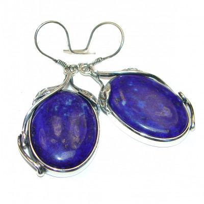 Huge Perfect genuine Blue Lapis Lazuli .925 Sterling Silver handmade earrings