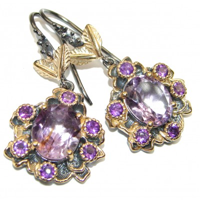 Violet Beauty Authentic Amethyst black rhodium over .925 Sterling Silver handmade LARGE earrings
