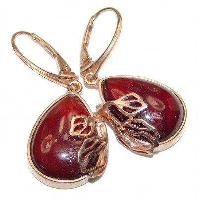 Genuine Garnet Rose Gold over .925 Sterling Silver handcrafted Earrings