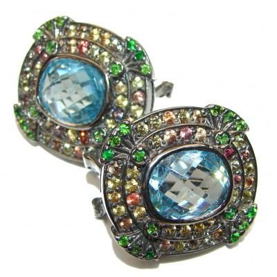 Incredible Swiss Blue Topaz Sapphire .925 Sterling Silver handcrafted earrings