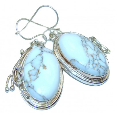 One of the kind Howlite Jasper .925 Sterling Silver earrings