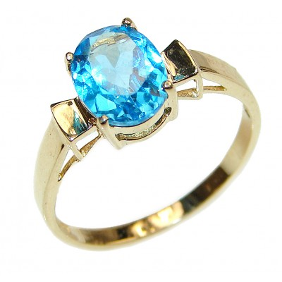 14K yellow Gold Blue Topaz Cocktail Ring size 7