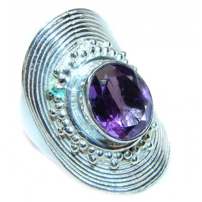 Amazing authentic Amethyst .925 Sterling Silver brilliantly handcrafted ring s. 6 1/2