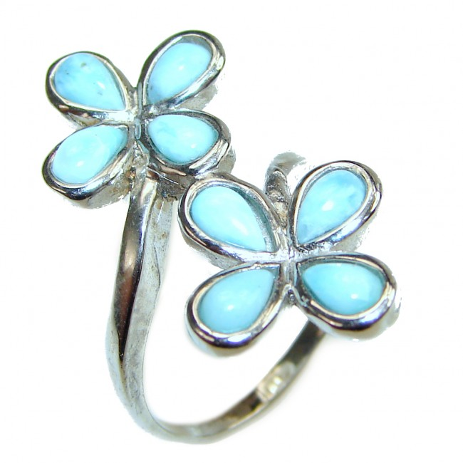 Larimar .925 Sterling Silver handcrafted Ring s. 7 1/4