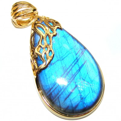 Magical Aurora Fire Labradorite 18K gold over .925 Sterling Silver handcrafted Pendant