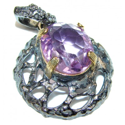 Ocean Reef Amethyst rose Gold over .925 Sterling Silver handmade pendant