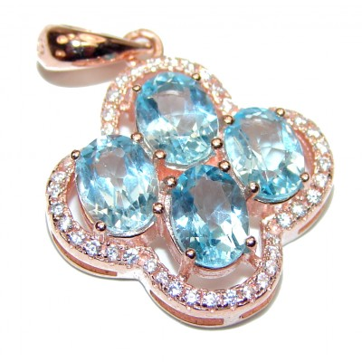 Emily genuine Swiss Topaz 14K Rose Gold over .925 Sterling Silver handmade pendant
