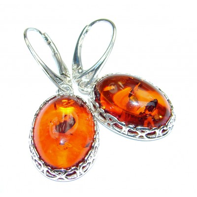 Wonderful Amber .925 Sterling Silver entirely handcrafted earrings