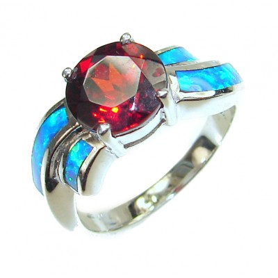 Authentic Red Topaz .925 Sterling Silver ring s. 8 1/4