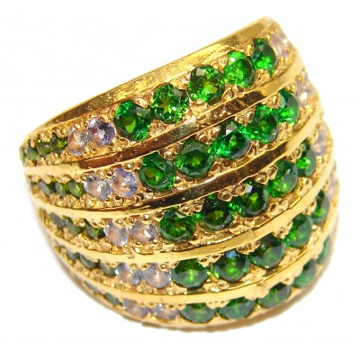 Spectacular Natural Chrome Diopside 14K Gold over .925 Sterling Silver handmade Statement ring s. 7 3/4