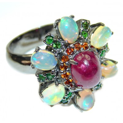 Valentina Genuine Ruby Opal black rhodium over .925 Sterling Silver handcrafted Statement Ring size 8