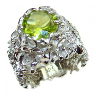 Huge Peridot .925 Sterling Silver handmade Ring size 7