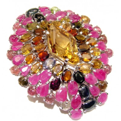 Luxury Large genuine Citrine Ruby .925 Sterling Silver handmade Pendant - Brooch