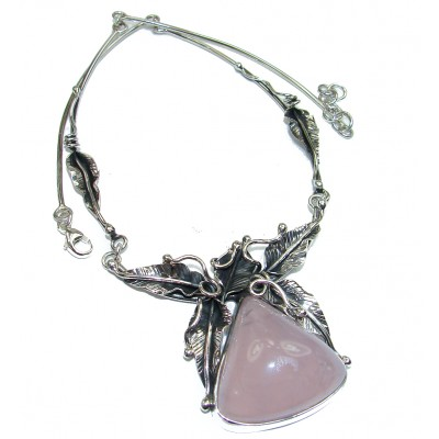 Large Master Piece genuine 175.5 ctw Rose Quartz Rose Gold over .925 Sterling Silver brilliantly handcrafted necklace